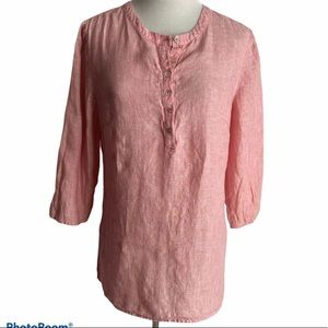 Doncaster Women's 4 Small Linen Button Red Blouse